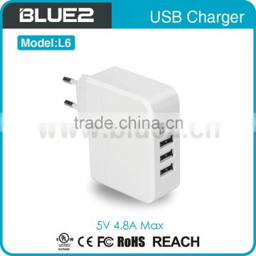 Universal home charger 4 port usb wall charger 4.8A 4 portusb charger for mobile device ce fcc rohs