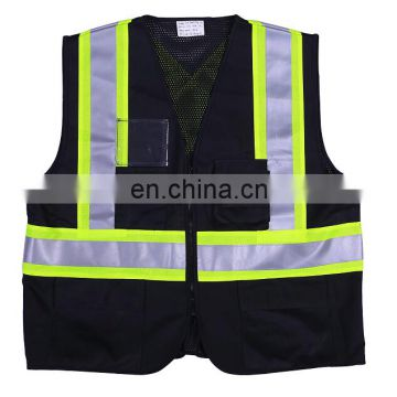EN20471 High visibility custom reflective black flashing safety vest