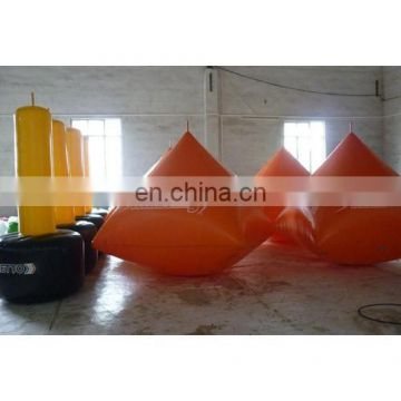2015new inflatable pyramid and cylinder buoy with customized logos for swim event