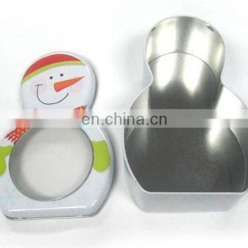 Snowman shape packing tin with clear PVC window
