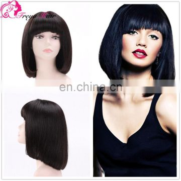 Aliexpress Hot Sale 7A Peruvian Virgin Hair Bob Style Human Hair Front lace Wig