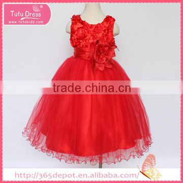 Party Dressy pleated dress with pink flower waistband tulle skirt children frocks designs