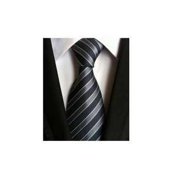 High Stitches Gray Polyester Woven Necktie Stwill Solid Colors