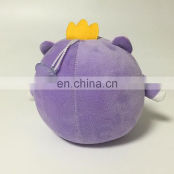 Purple elephant stuffed foam beads soft keychain with sucker toy