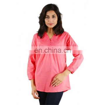 Trendy summer pink full sleeve top for girls