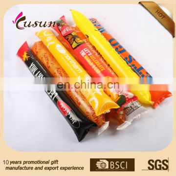 New design eco printed PE inflatable noisemaker sticks cheap wholesales manufacturer