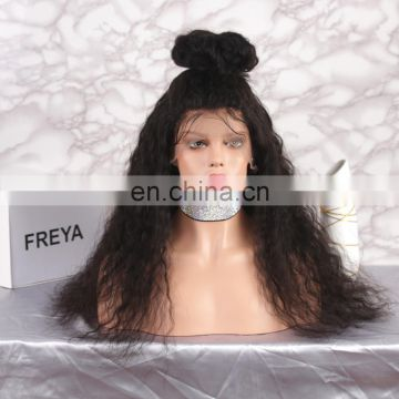 Raw virgin unprocessed human hair CURLY full lace wig with baby hair
