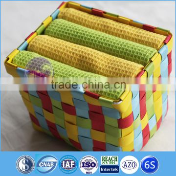 China Cheap Solid Color Yarn Dyed Cotton waffle dish cloth
