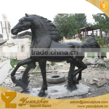 Black Marble Natural Stone Carved Standing Horse Statue