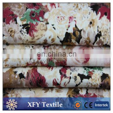 fashion flowers design printed cotton linen fabric
