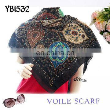 2016 latest polyester soft voile scarf fashion woman newest design factory make hot sell to European