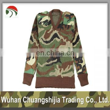 High Quality Wool Acrylic Camouflage Military Pullover