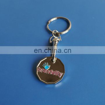 custom logo UK pound trolley coin key holder, shopping cart token coin keyring