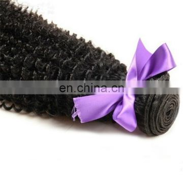 Top quality machine made double wefted human hair bundles natural color kinky curly hair for black women