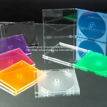 5.2mm Plastic silm VCD CD dvd Case Plastic silm CD dvd  Box Plastic silm CD dvd Cover square  with Colour Tray