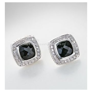 925 Silver Earrings 7mm Black Onyx Petite Albion Earrings(E-013)