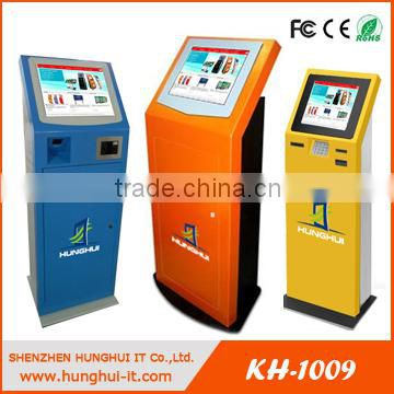 Touch screen Free standing barcode scanner RFID card reader ticket vending machine