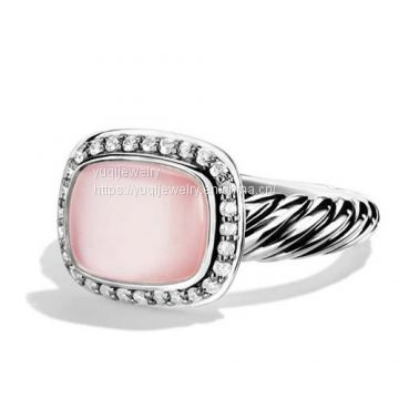Sterling Silver Jewelry 8x10mm Rose Quartz Noblesse Ring(R-042)