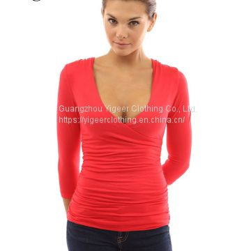 7/10 Sleeve Deep V-neck Wrap-Chest Stretch Sexy Top