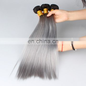 Ombre two tone color 1b#/gray silky straight human hair weft 100% real human hair remy indian hair extensions