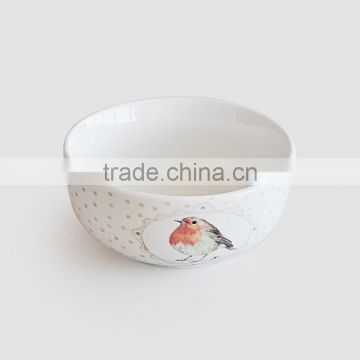 Stoneware japanese style bowl in handpainted design or decal printing with chopsticks holder