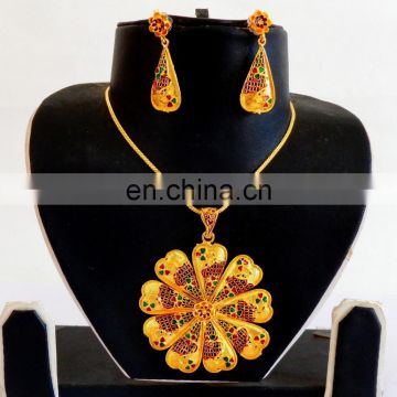One Gram Gold Plated Pendant Set - Gold Plated meenakari Pendant Set - Wholesale Gold Plated Pendant Set-Pakistani Pendant set