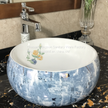 Luxury hotel bathroom ceramic round shape blue color wash hand basin sink with european popular design