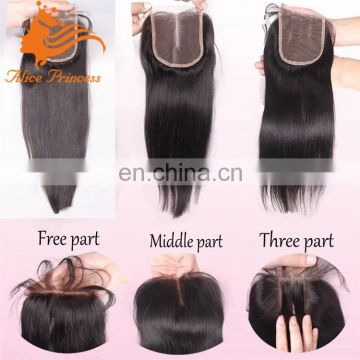 Large stock cheap brazilian hair closure 4*4lace closure with baby hair