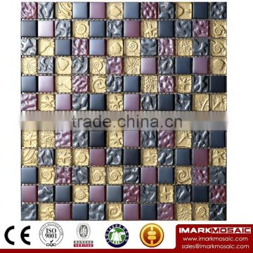 IMARK Black Color Crystal Glass Mosaic Tiles Mix Stone Mosaic Tiles for Wall Backsplash Code IXGM8-023