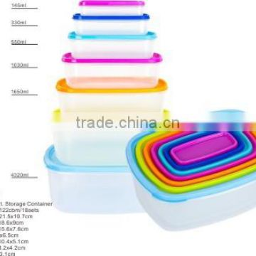 14ps rect.lunch boxes and food meal prep containers Plastic food containers