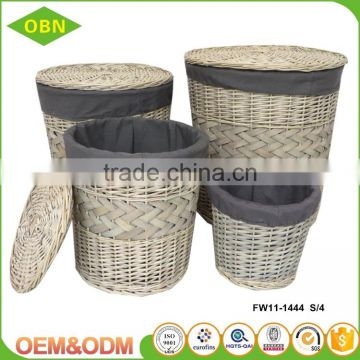 Wholesale best quality durable fabric decoration eco-friendly dirty clothes hamper cane wicker laundry basket with cover