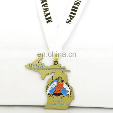 Custom Michigan Youth Wrestling Athletics Medal With Lanyard
