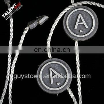 customized brand name logo hang tag plastic seal string for clothing