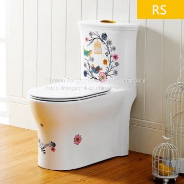 Siphonic ceramic one piece colored decal toilet bathroom wc toilet