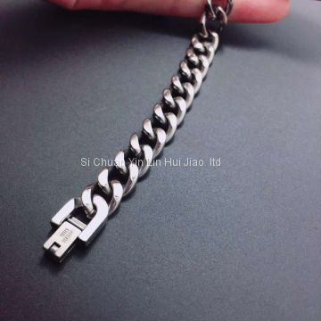 Mens Titanium Bracelet, Pure Titanium Chain Bracelet for His Sensitive Skin, Robust Chain Titanium Bracelet