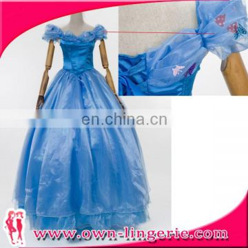 Popular blue princess costume fancy dress cosplay halloween sale costume for adults