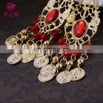 Arabic professional gold coin and diamond belly dance earrings jewelry accessory P-9007#