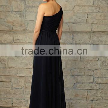 One shoulder ruched customize cheap 2015 floor length black bridesmaid dress CWFabb3918
