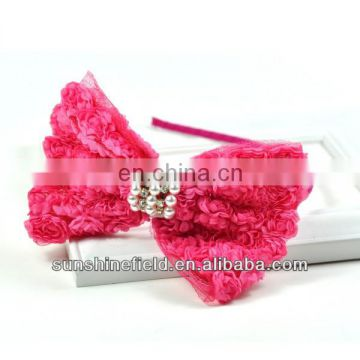 Baby Chiffon Rose Bow Headbands baby girl toddler Headbands with Crystal & Pearl