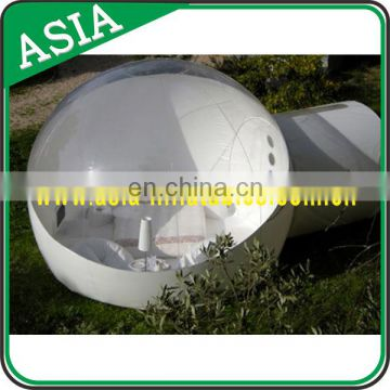 Outdoor Single Tunnel Inflatable Bubble Tent for Family Camping Backyard, Romantic Half Clear Snow Globe for Outdoor