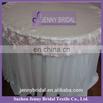 TCAP01 pink rosette satin wedding round table cover