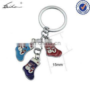 CUSTOMIZED HIGH QUALITY SOCK STYLE ENAMEL CHRISTMAS KEY CHAIN