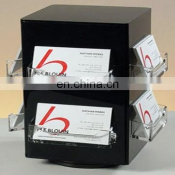 Clear Acrylic Donation Box with Attached Business Card Holder