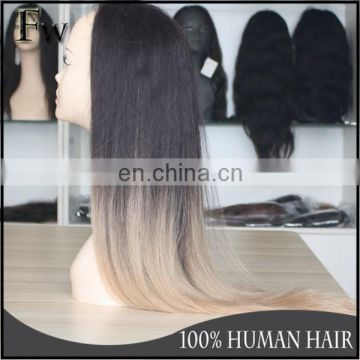Aliexpress 100% peruvian human ombre braiding hair for black women blonde full lace wig with baby hair