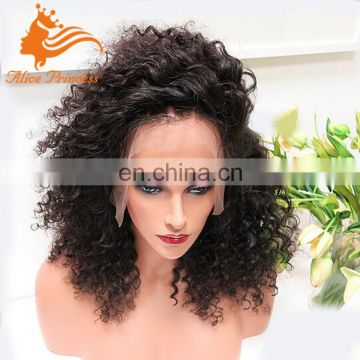 Kinky Curly Full Lace Wig With Baby Hair For Black Women Virgin Europeam Hair Glueless Full Lace Wig With Small Medium Cap
