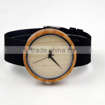 2016 Hot sale japanese miyota 2035 movement wristwatches genuine leather watches bamboo wooden Unisex watches