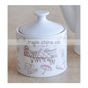 sugar bowl,porcelain with decal