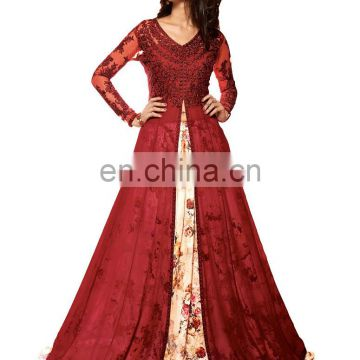 Women's Georgette Gown Stlye Anarkali Lehenga Suits 2017 (Semi Stitched)