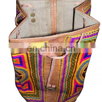 INDIAN HANDMADE LEATHER BAG BACKPACK EMBROIDED VINTAGE LOOK ETHNIC BAG