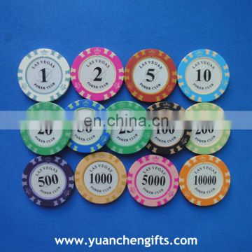 2016 promotional clay poker chips for hot selling